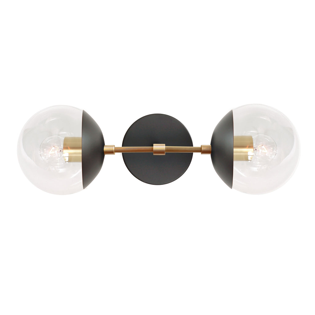 Cedar and Moss Theo 6. Shown in Matte Black and Brass finish. (G16.5 light bulbs shown, not included).
