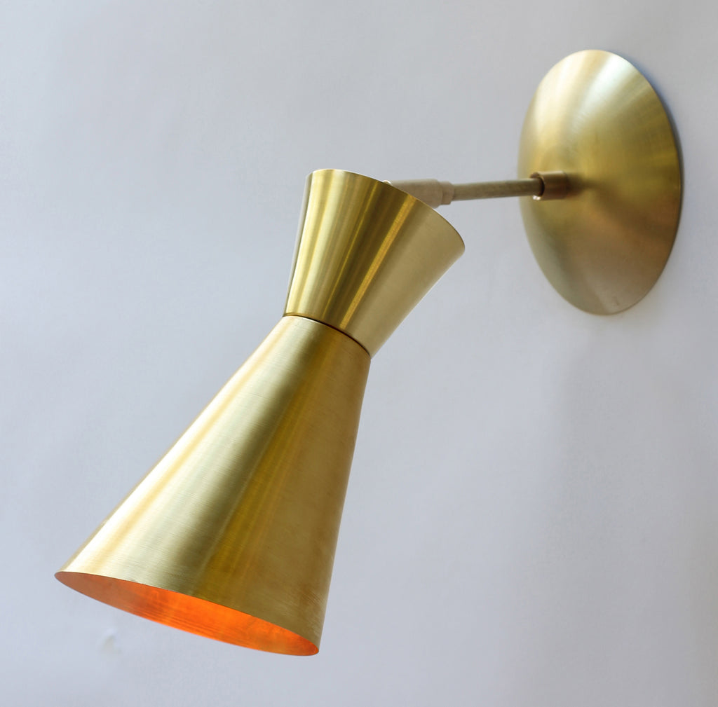 Cedar and Moss. Tryon Wall Sconce. Shown in Brass finish.
