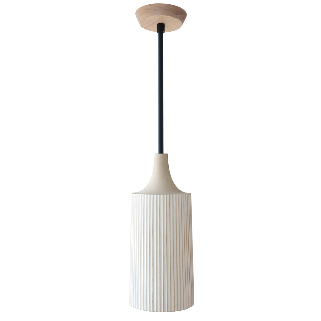 Cedar and Moss. Tumwater Large Pendant. Shown in Matte Black with Birch canopy. (G25 light bulb, not included).
