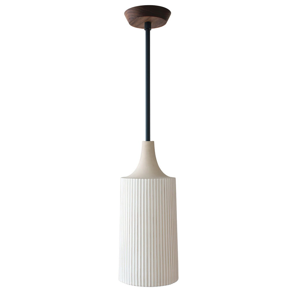Cedar and Moss. Tumwater Large Pendant. Shown in Matte Black with Walnut canopy. (G25 light bulb, not included).