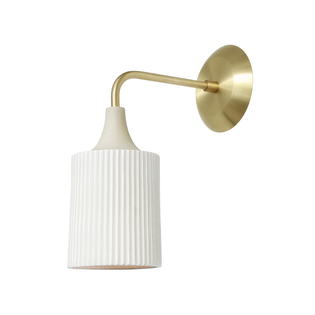 Cedar and Moss. Tumwater Wall Sconce. Shown in Brass with Metal Canopy.