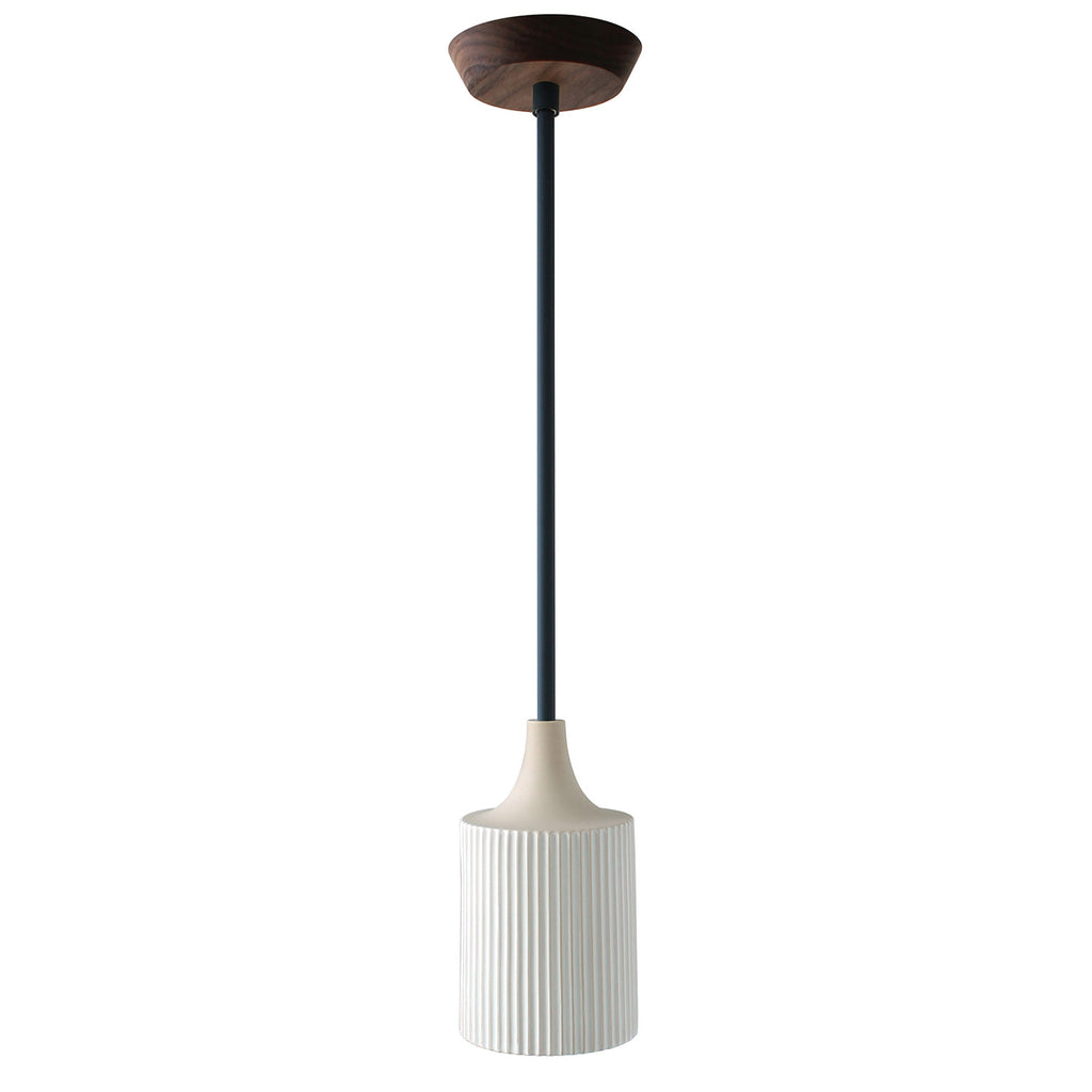 Tumwater Small Pendant. Shown in Matte Black with Walnut Canopy. (G19 light bulbs shown, not included).  Cedar and Moss.