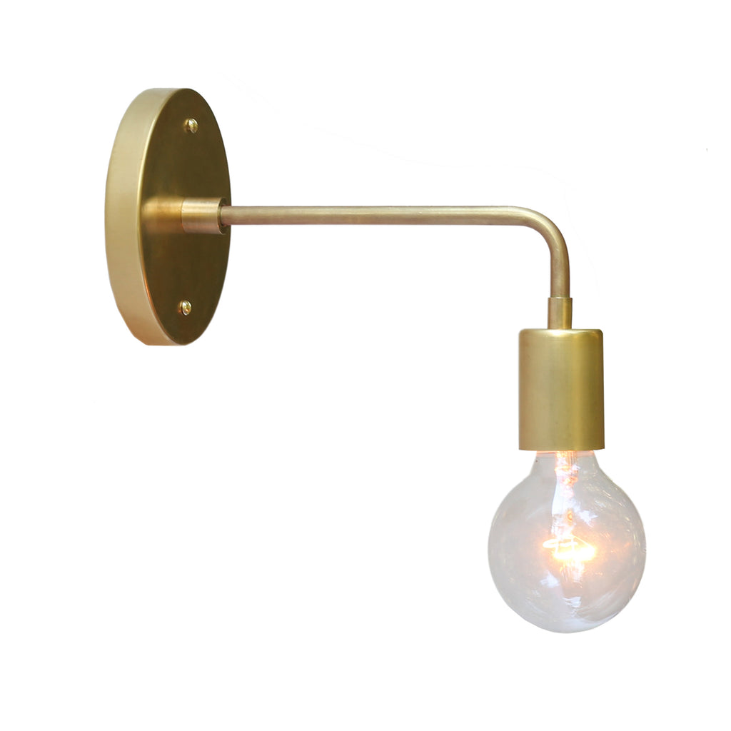 Cedar and Moss. Vista Long Sconce. Shown in Brass Finish.  (G25 light bulb shown, not included).