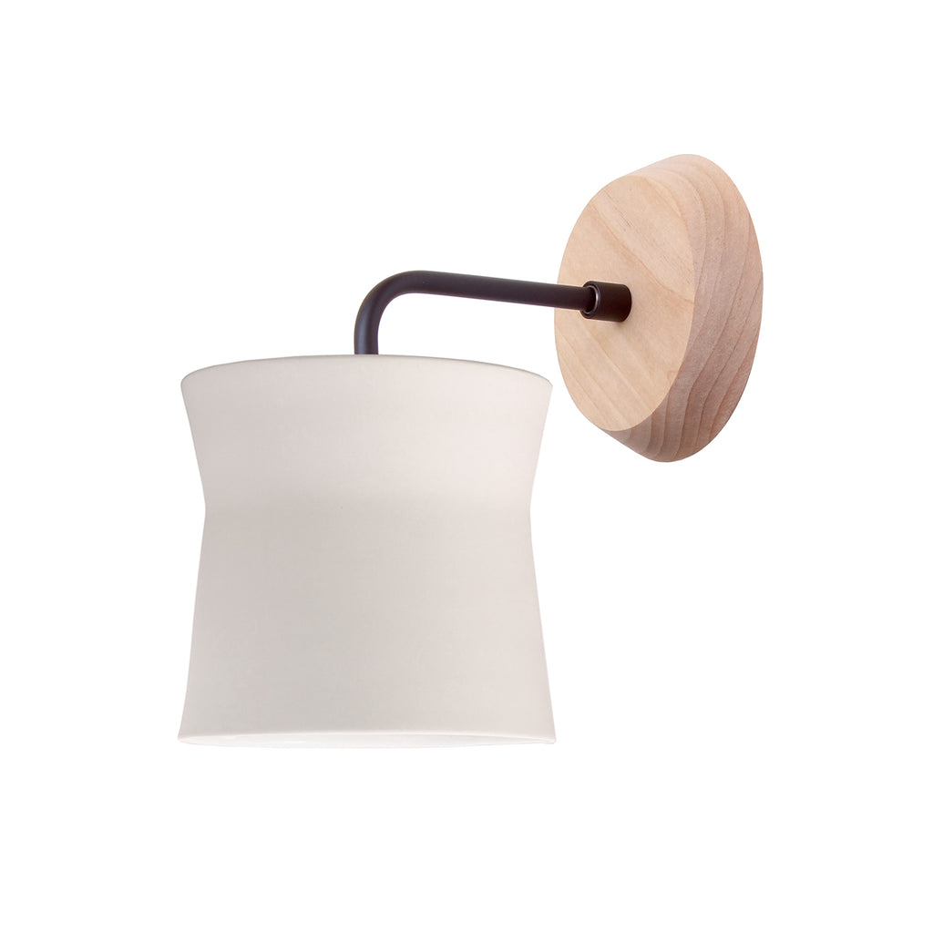 Cedar and Moss. Wyatt Sconce. Shown with Birch Wood Canopy and Matte Black Finish.