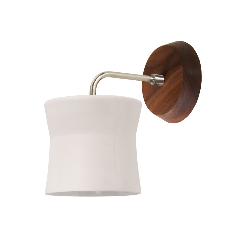 Cedar and Moss. Wyatt Sconce. Shown with Walnut Wood Canopy and Polished Nickel Finish.