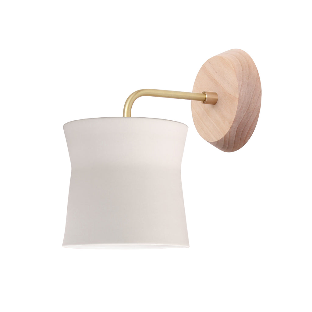 Cedar and Moss. Wyatt Sconce. Shown with Birch Wood Canopy and Brass Finish.