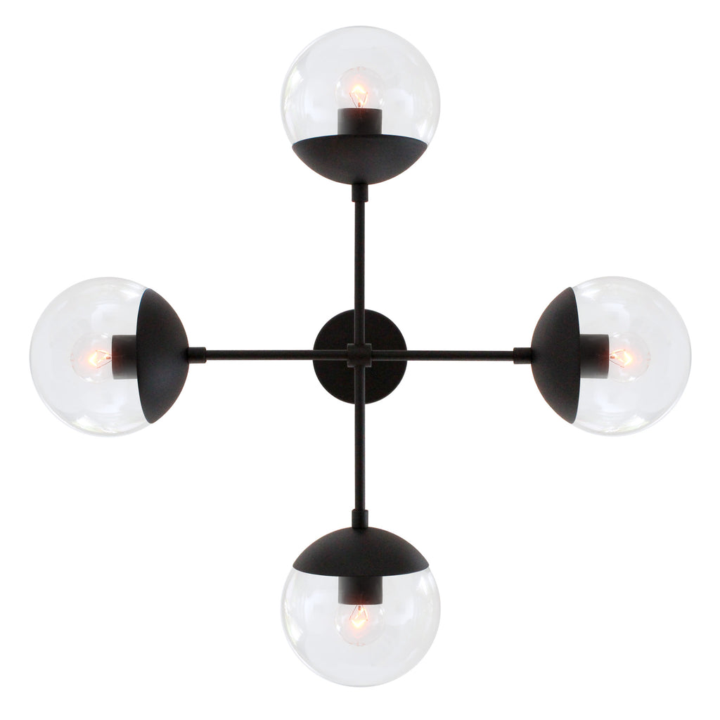 Cedar and Moss Alto Compass 6. Chandelier light fixture. Shown in Matte Black finish with Clear Glass. (G16.5 light bulbs shown, not included).