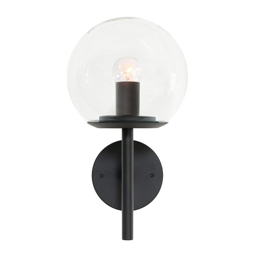 "Cedar and Moss. Athena 8"" Wall Sconce. Shown in Matte Black finish with Clear glass. (G16.5 light bulb shown, not included)."