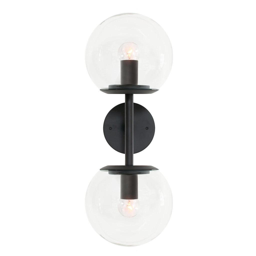 "Cedar and Moss. Juno 8"" Double Globe Wall Sconce. Shown in Graphite Patina with Clear glass."