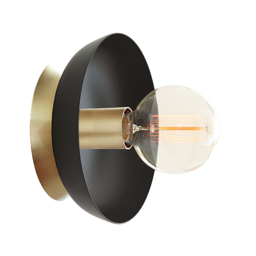 Cedar and Moss. Lucia Surface or Sconce. Shown in Matte Black + Brass Finish.