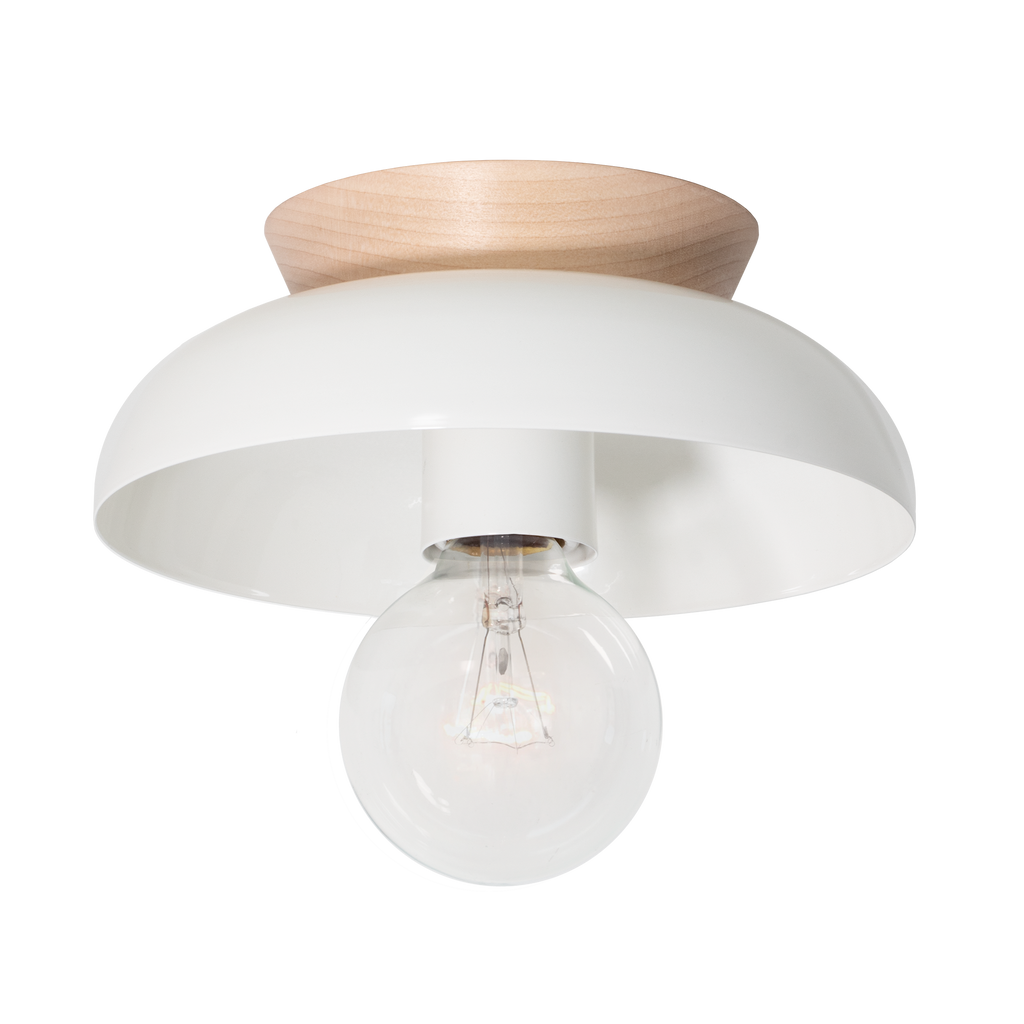 Lucia Surface or Sconce. Shown in White Finish with Birch Wood Canopy. (G25 light bulb shown, not included). Cedar and Moss.