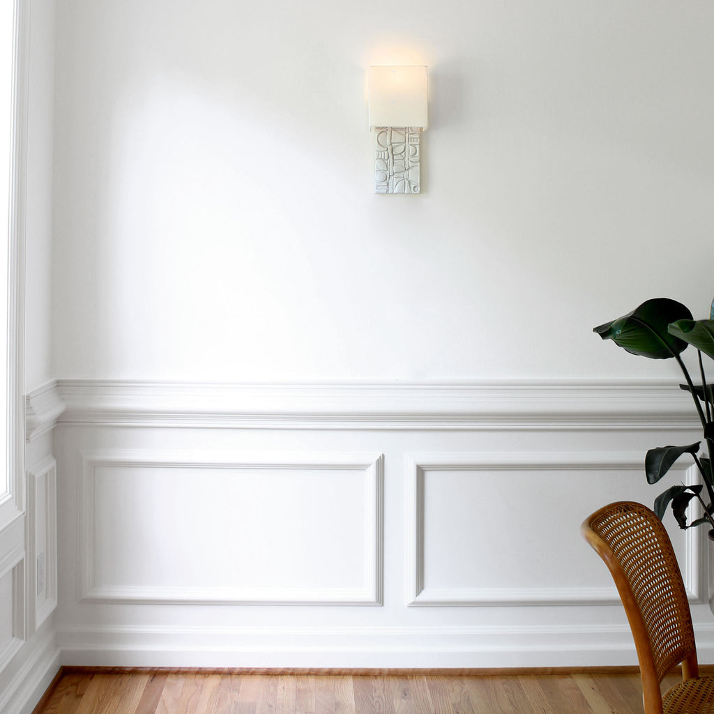 Cedar and Moss. Asch Sconce. Shown in Brownstone White ceramic