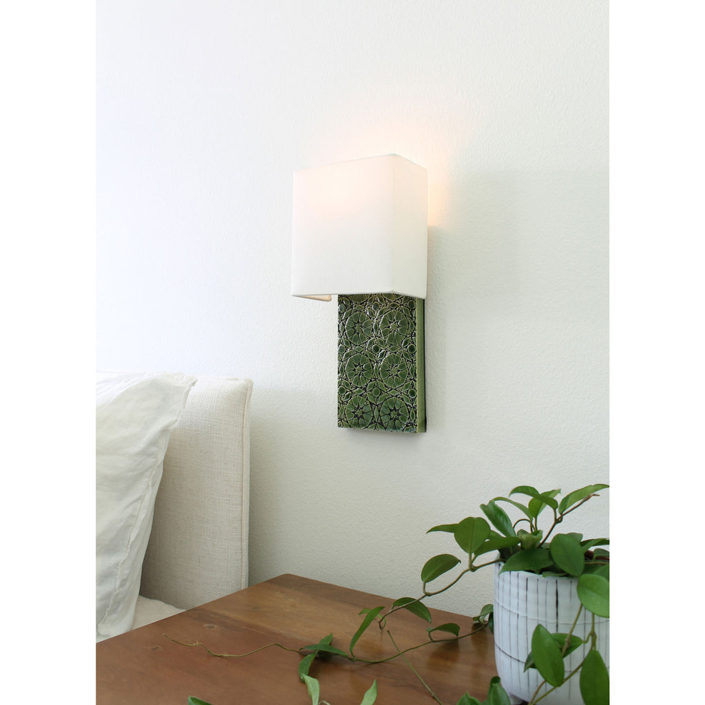Cedar & Moss. Pratt Sconce. Shown in Green R210 ceramic