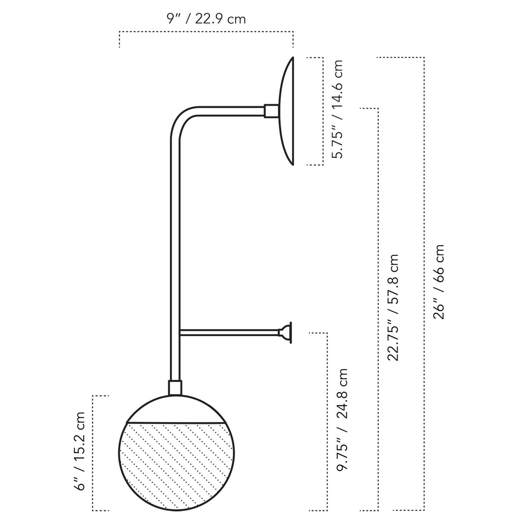 "Cedar and Moss. Ramona 6"" Wall Sconce drawing with measurements."