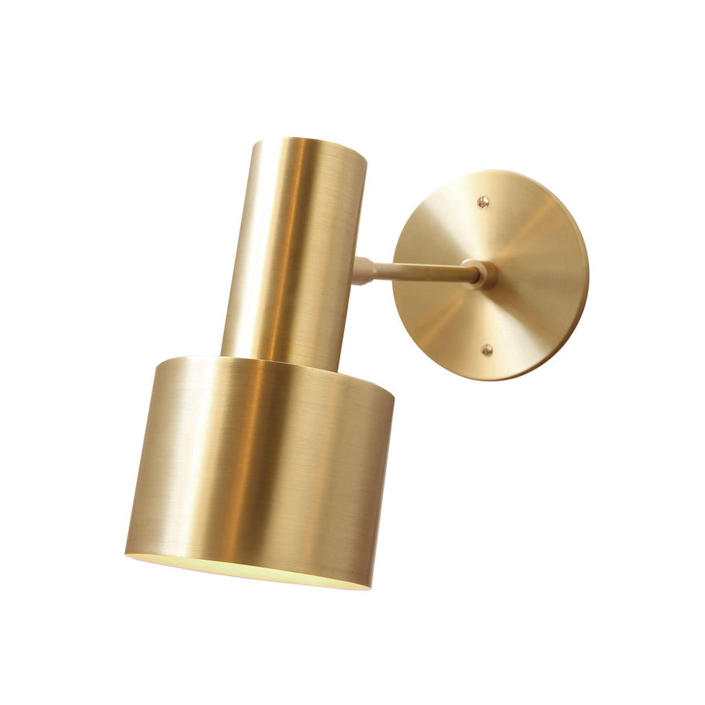 "Ridge Wall Sconce. Shown in Brass finish with 3"" arm. Cedar and Moss."