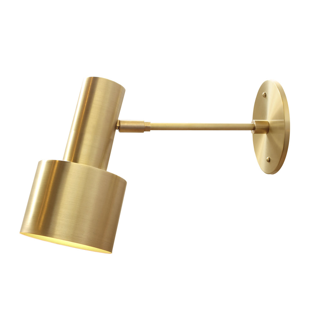 "Ridge Wall Sconce. Shown in Brass finish with 6"" arm. Cedar and Moss."