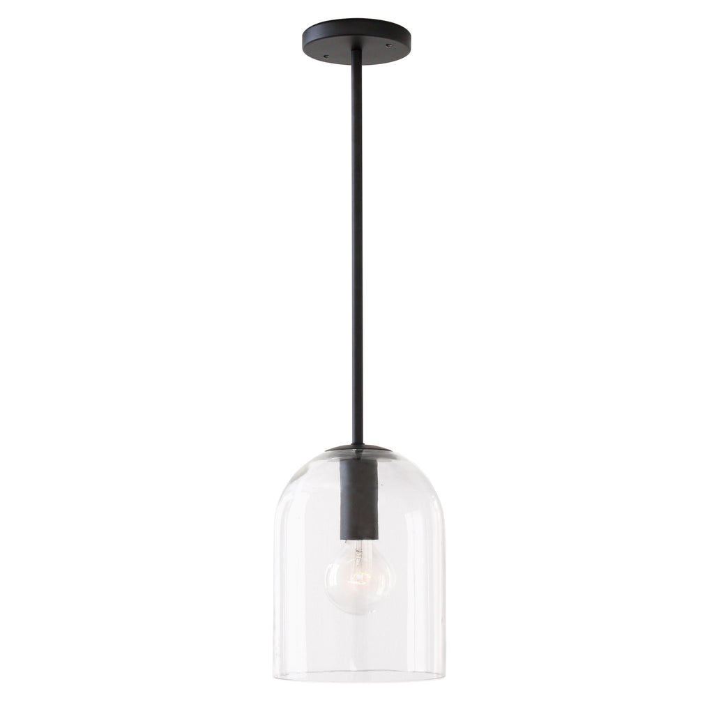 Cedar and Moss. Sequoia Rod Pendant. Shown in Matte Black Finish with Clear Glass Shade.