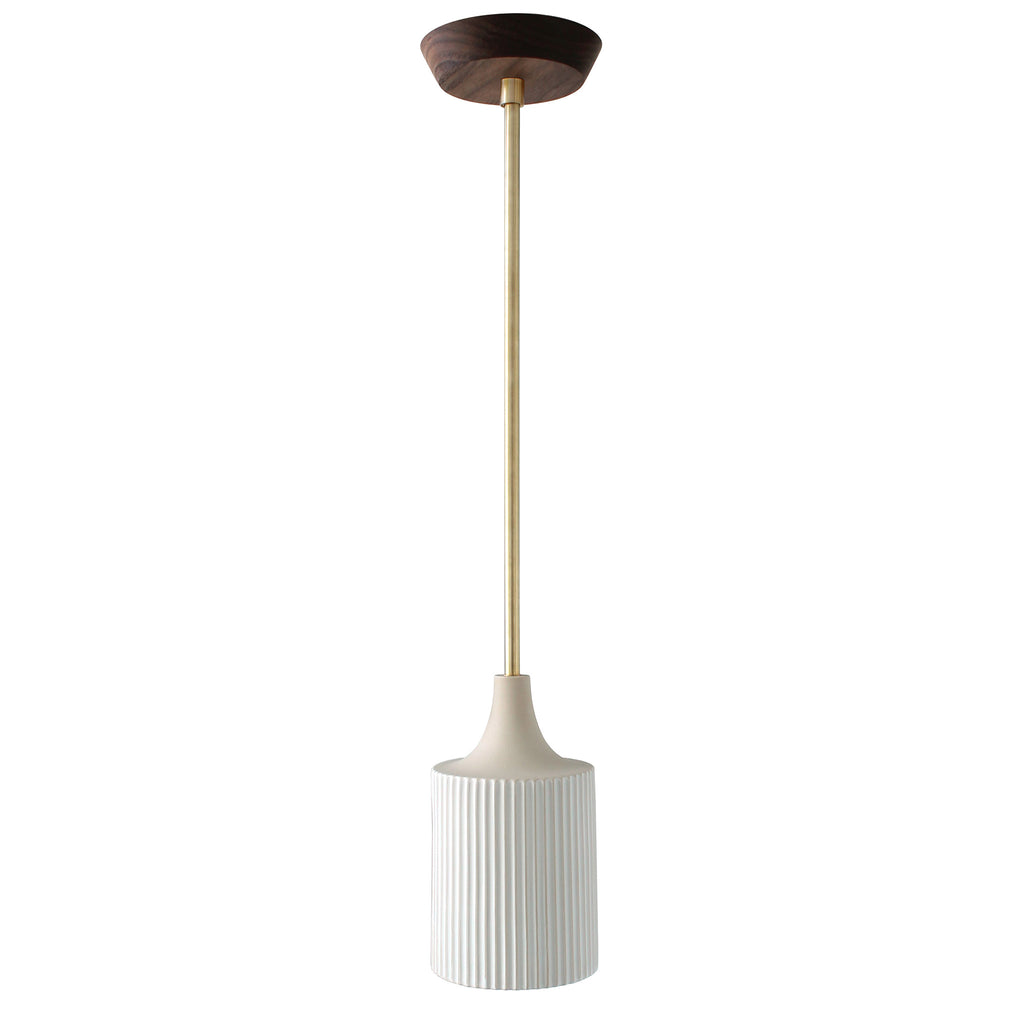 Cedar and Moss. Tumwater Small Pendant. Shown in Brass with Walnut Canopy.