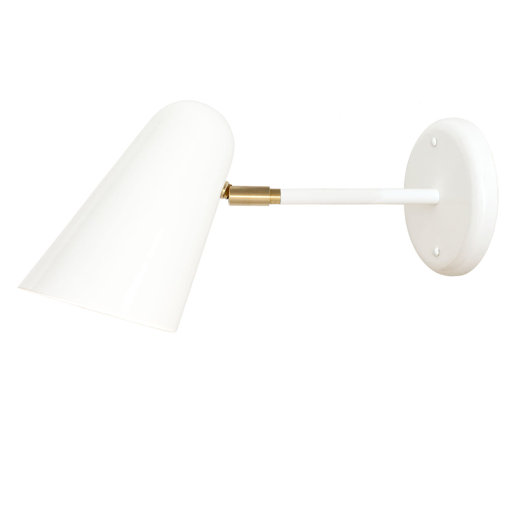 "Cedar and Moss. Wildwood Sconce. White with brass detail. 6"" arm. (A19 light bulb shown, not included)."