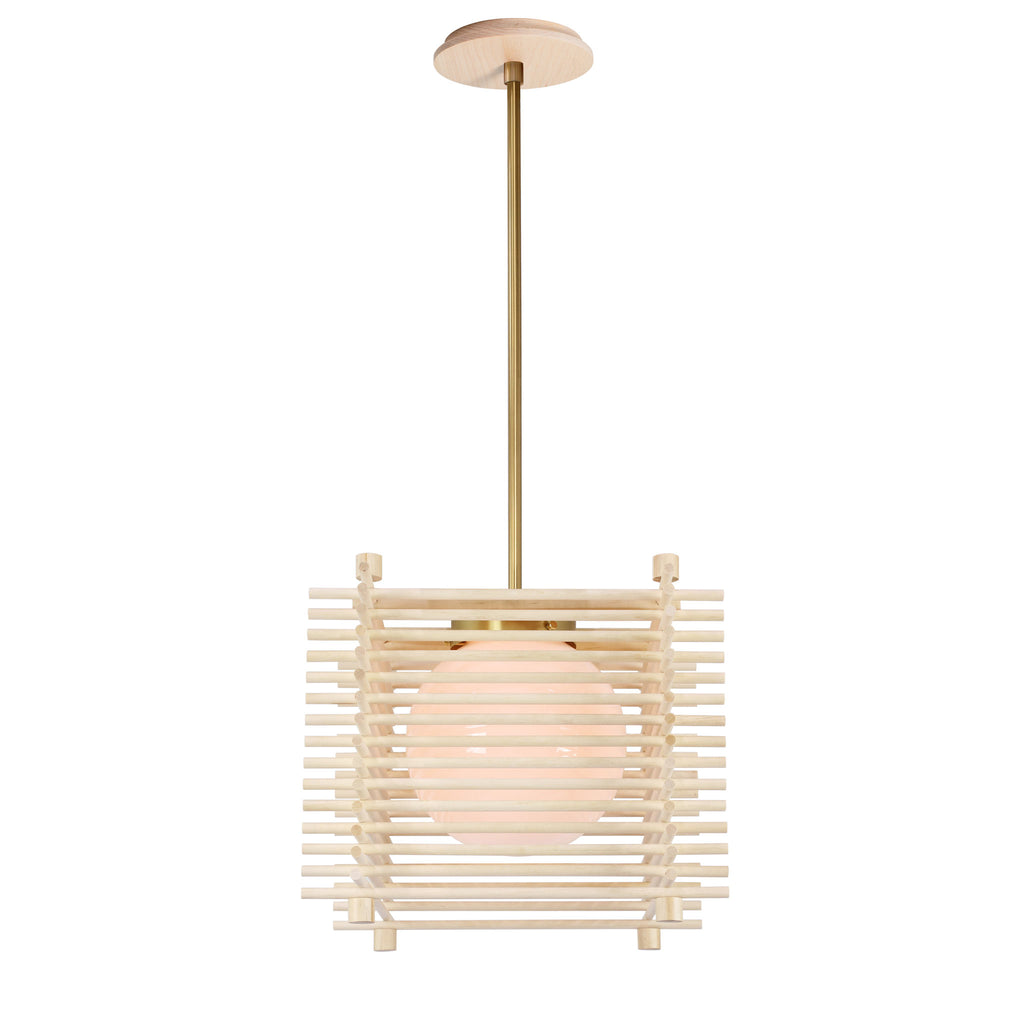 Cedar and Moss. Yugen Pendant. Shown in Natural Birch and Brass Finish.