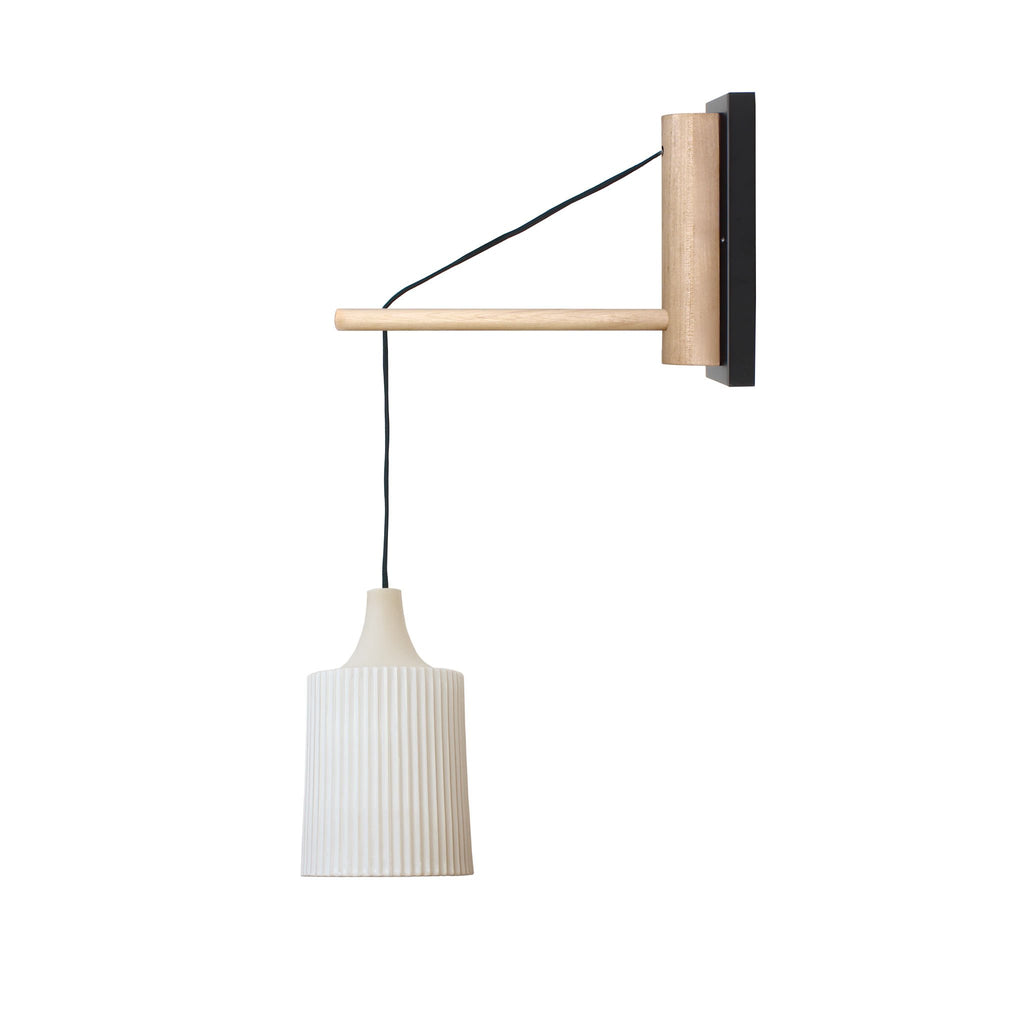 "Cedar and Moss. Tumwater 14"" Wood Arm Hardwired Wall Sconce. Shown in Birch and Matte Black."