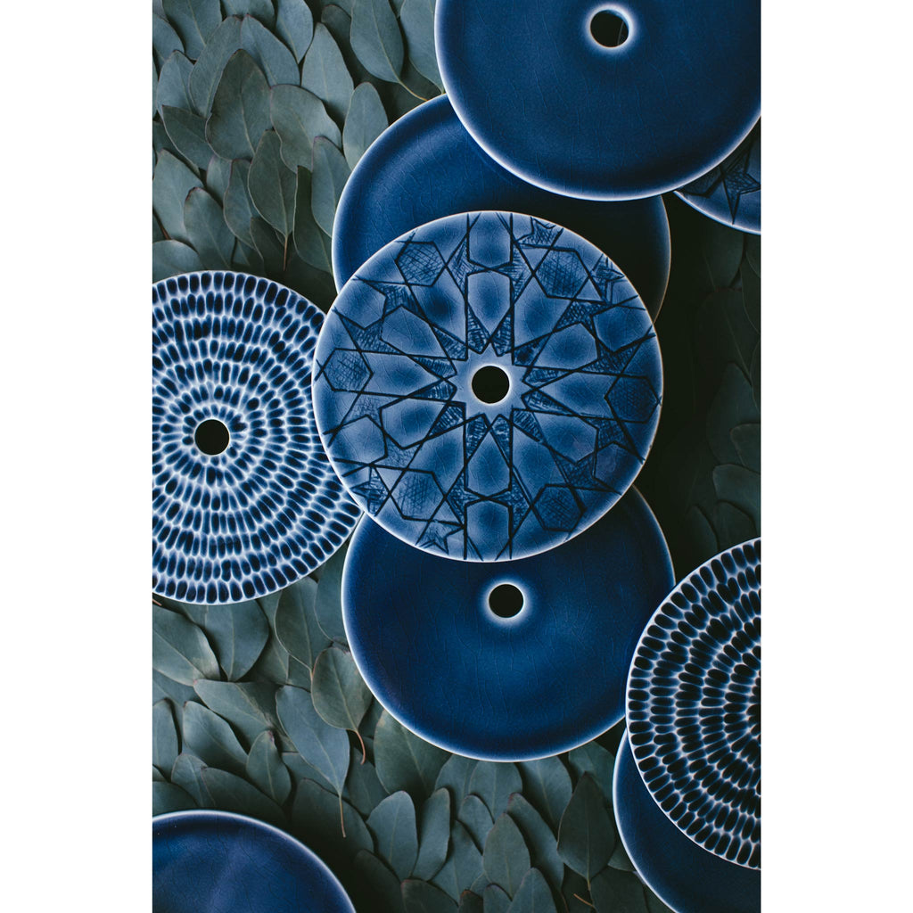 Photo by Kris LeBoeuf of Pratt and Larson Ceramic Canopies in Indigo Blue.