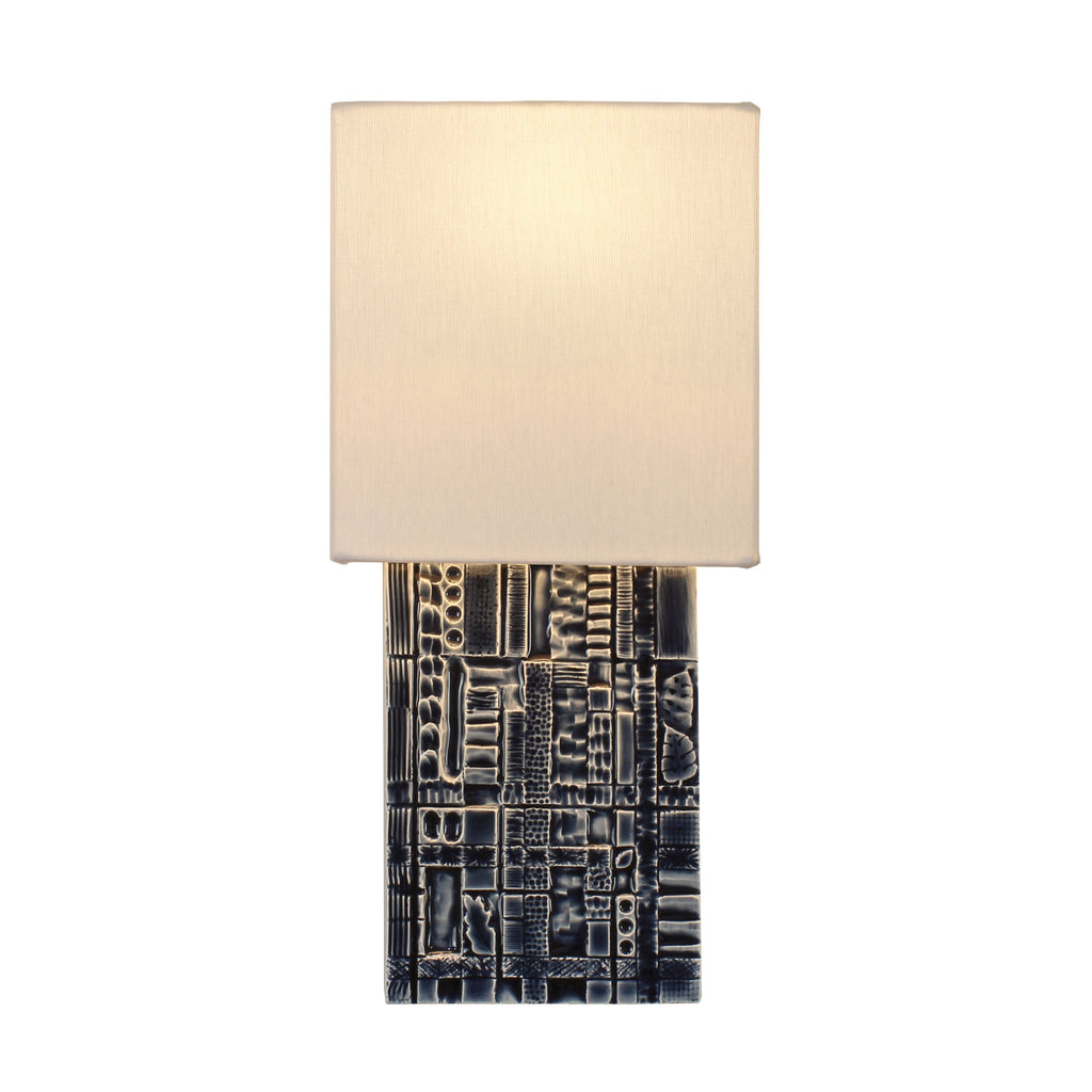 Izzy Sconce. Shown in Indigo Blue ceramic. Cedar and Moss.