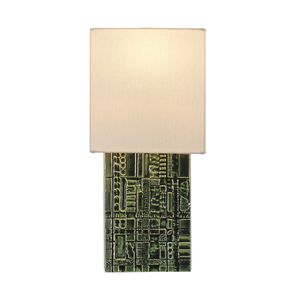 Izzy Sconce. Shown in Forest Green ceramic. Cedar and Moss.
