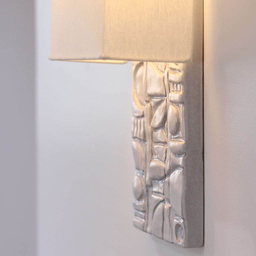 Cedar and Moss. Asch Sconce. Shown in brownstone white ceramic.