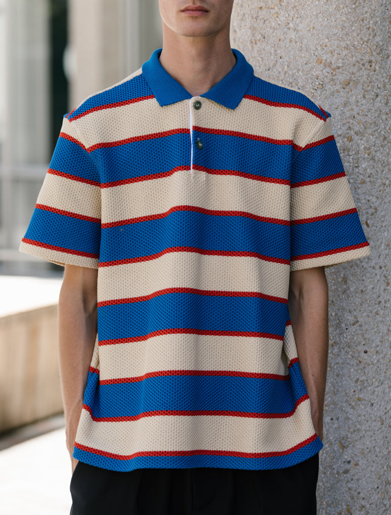 MARNI KNITTED STRIPE POLO BLU