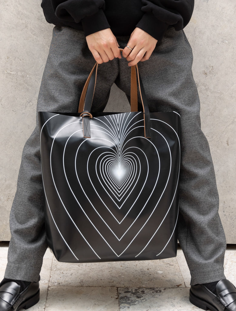 COATED PVC TOTE - LARGE HEART
