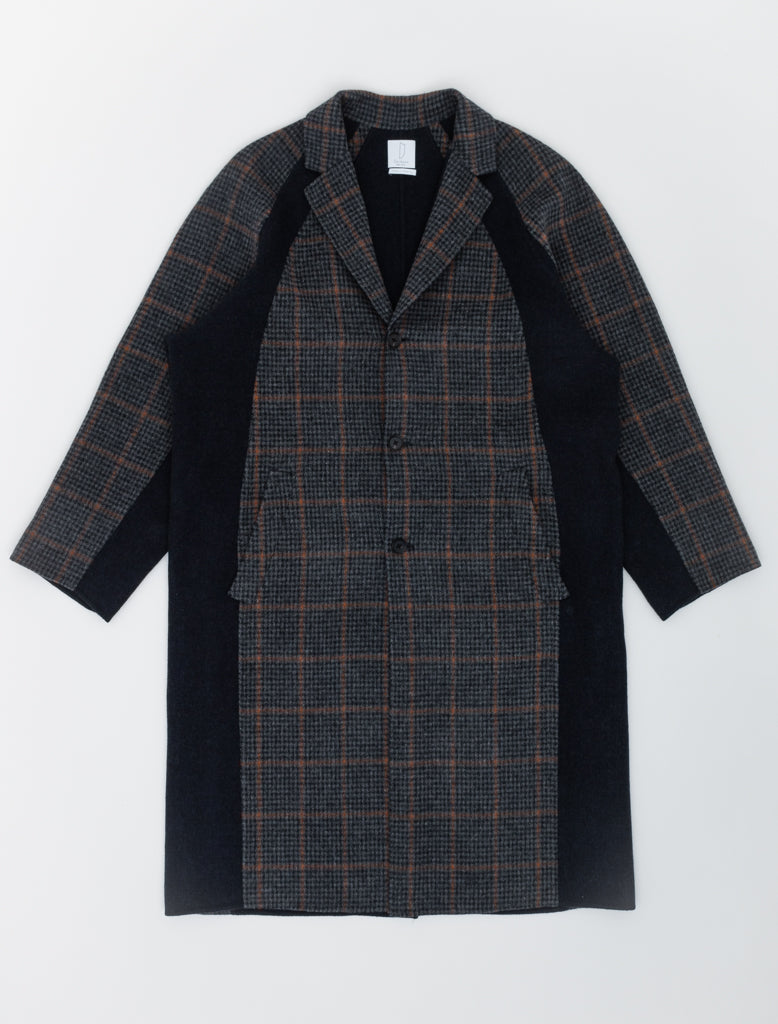 Deveaux Raglan Sleeve Coat Navy Houndstooth 1