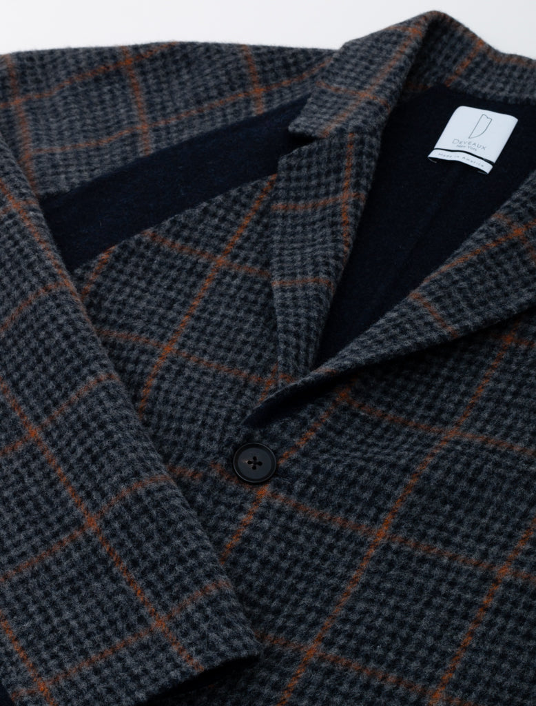 Deveaux Raglan Sleeve Coat Navy Houndstooth 3