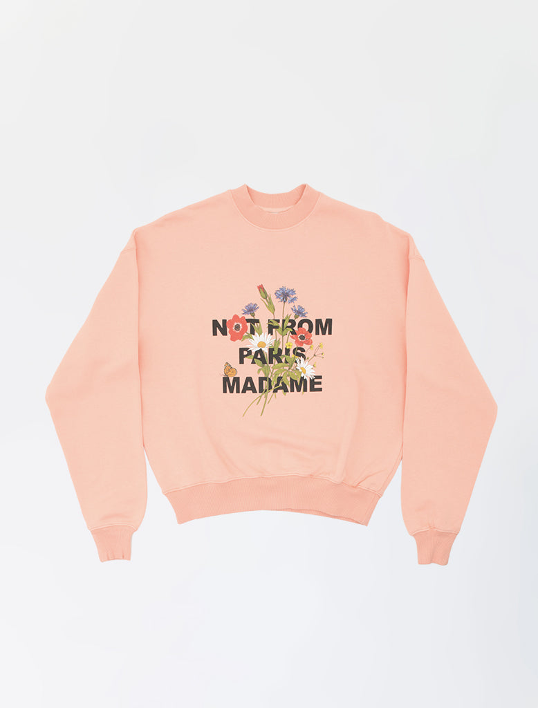 CROPPED FLOWER SLOGAN SWEAT