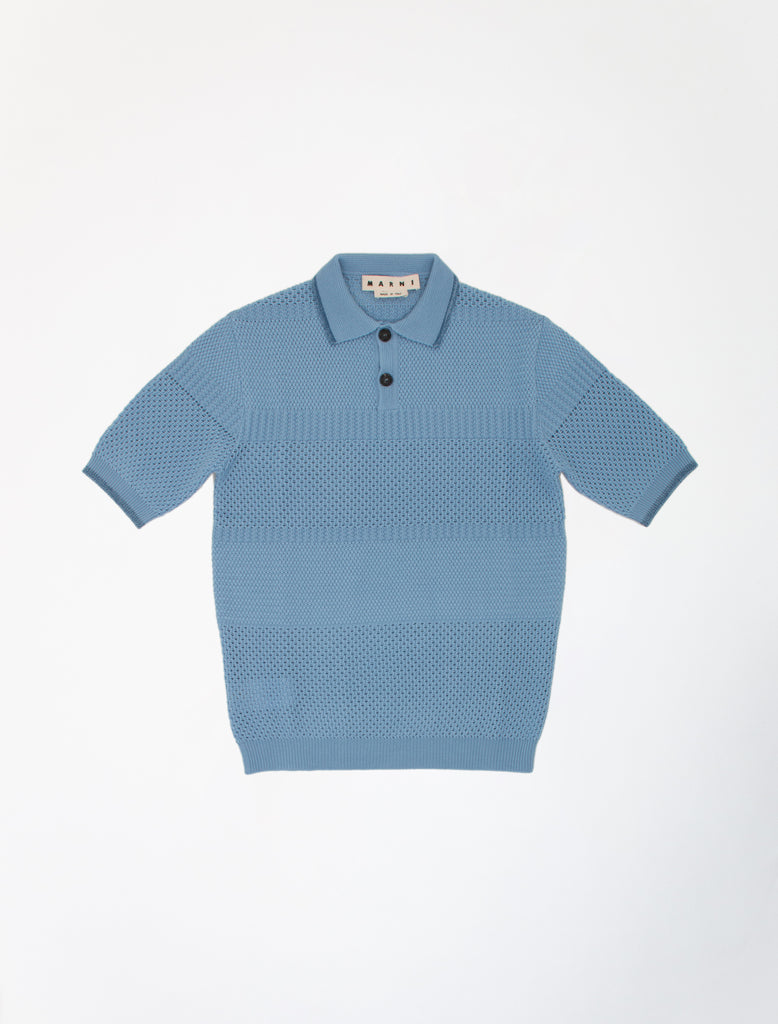 MARNI KNITTED WOOL BLUE POLO 1