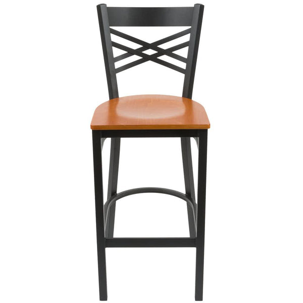 Cross Back Bar Height Chair with Cherry Wood Seat