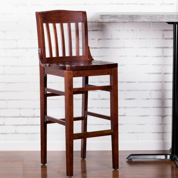 Mahogany School House Bar Height Chair