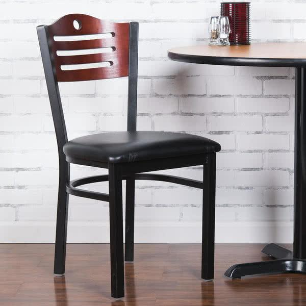 "Mahogany Finish Bistro Dining Chair with 1 1/2"" Padded Seat"
