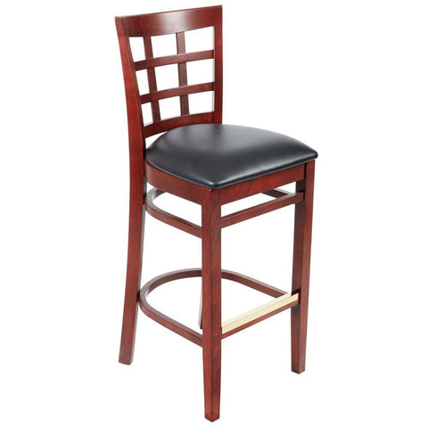 Mahogany Window Back Bar Height Chair with Black Padded Seat