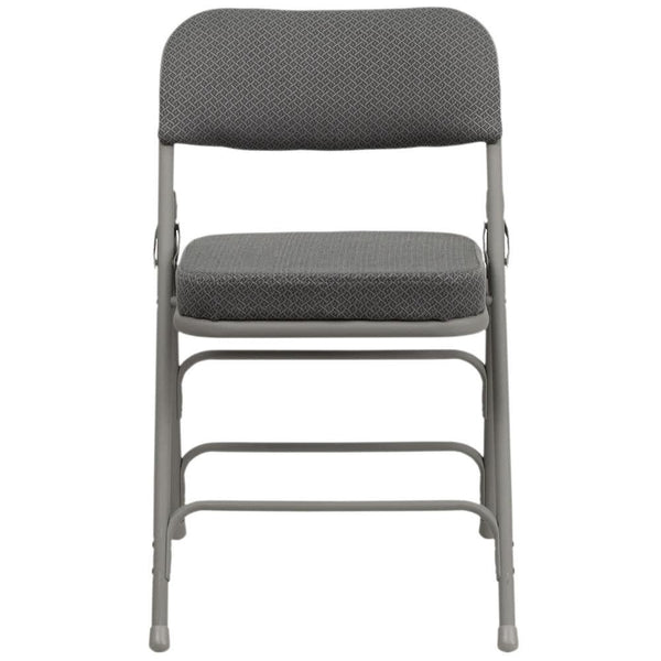 "Gray Metal Folding Chair with 2 1/2"" Padded Fabric Seat"