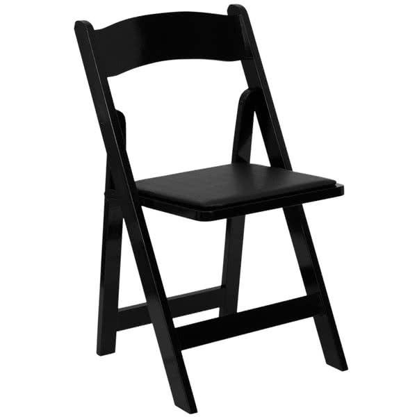 Black Wood Folding Chair with Padded Seat