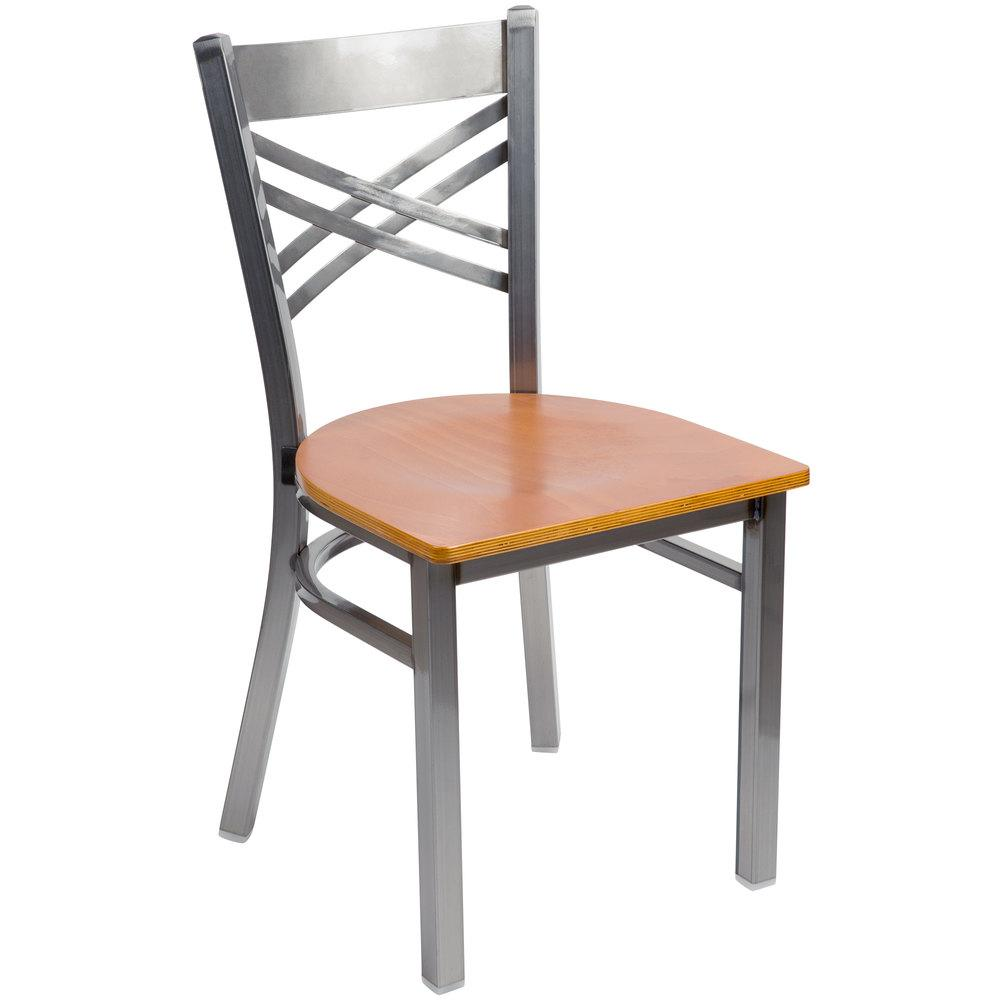 Clear Coat Steel Cross Back Chair with Cherry Wood Seat