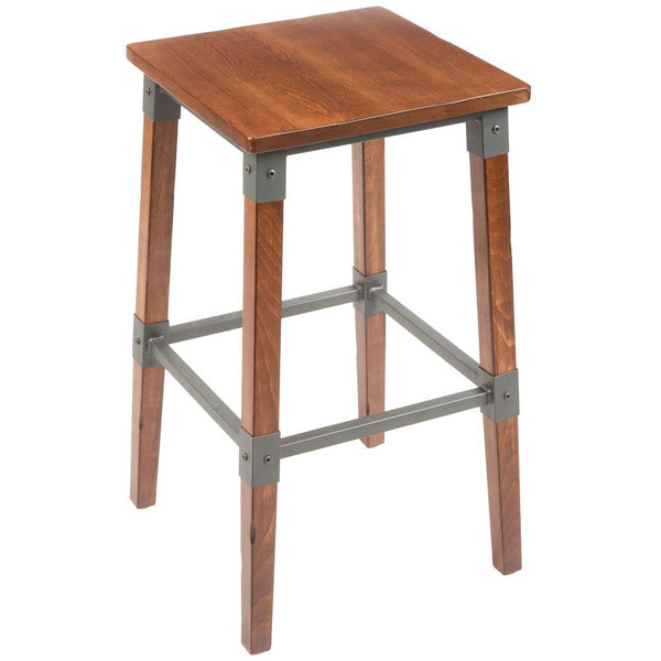 Rustic Industrial Backless Bar Stool