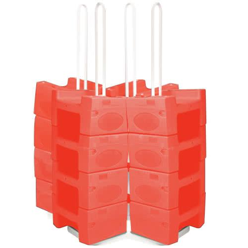 Large Booster Buddy Stand with 25 Red Plastic Booster Seats