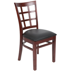 "Mahogany Wooden Window Back Chair with 2 1/2"" Padded Seat"