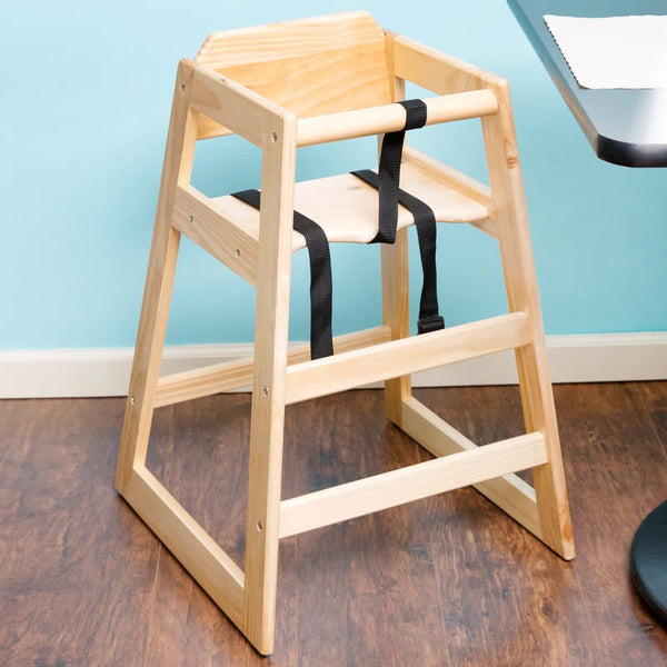 Natural Finish Stacking Restaurant Wood High Chair - Unassembled