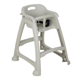 Gray Polypropylene Stackable Restaurant High Chair with Tray (Ready to Assemble, No Wheels)