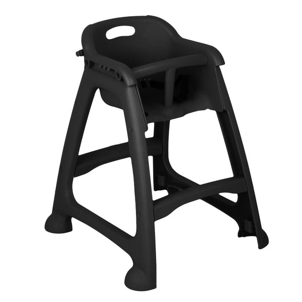 Black Stackable Restaurant High Chair with Tray (Ready to Assemble, No Wheels)