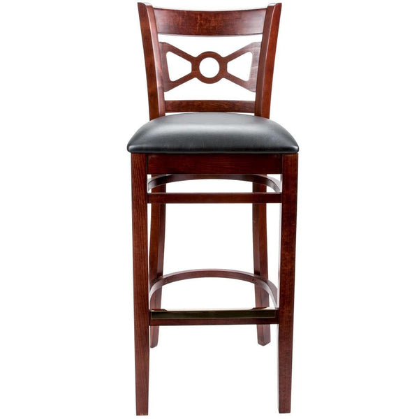 "Mahogany Bow Tie Back Bar Height Chair with 2 1/2"" Padded Seat"