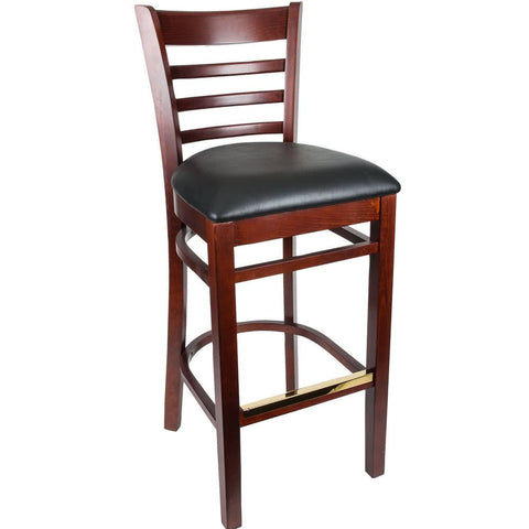 Mahogany Ladder Back Bar Height Chair with Black Padded Seat